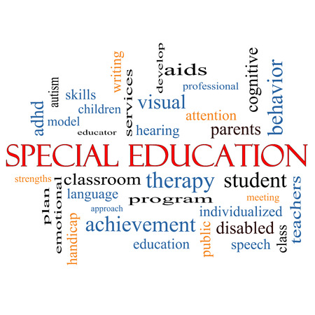 Special Education Word Cloud Concept with great terms such as student, individualized, program and more. Stock Photo