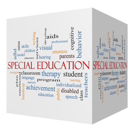Special Education 3D cube Word Cloud Concept with great terms such as student, individualized, program and more. photo