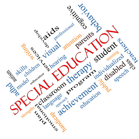 Special Education Word Cloud Concept angled with great terms such as student, individualized, program and more.