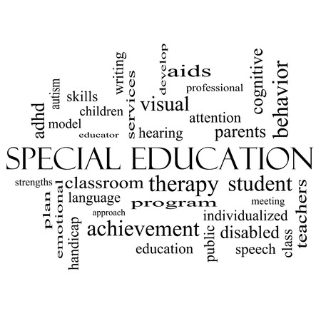 Special Education Word Cloud Concept in black and white with great terms such as student, individualized, program and more. photo