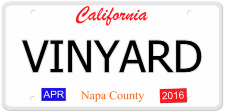 An imitation California license plate with the word VINYARD and Napa County making a great concept. photo