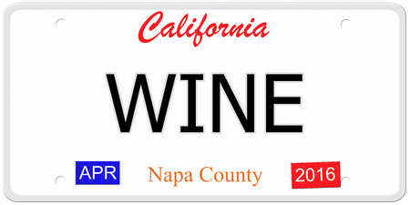 An imitation California license plate with the word WINE and Napa County making a great concept. photo