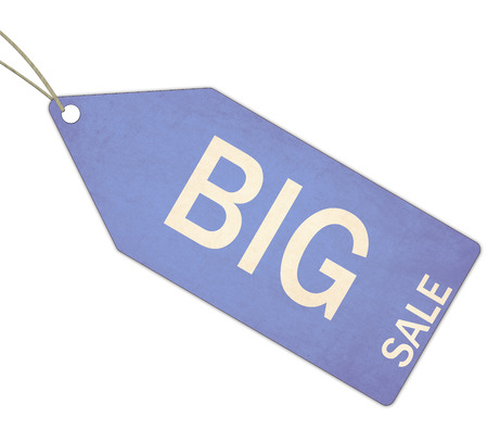 A blue, and white textured Big Sale Blue Tag and String making a great concept. photo