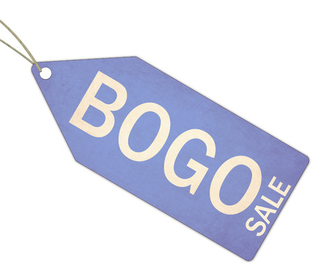 A blue, and white textured BOGO Sale Blue Tag and String making a great concept. Stockfoto