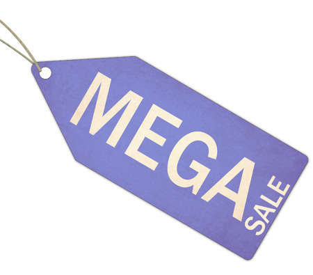 mega sale: A blue, and white textured Mega Sale Blue Tag and String making a great concept. Stock Photo