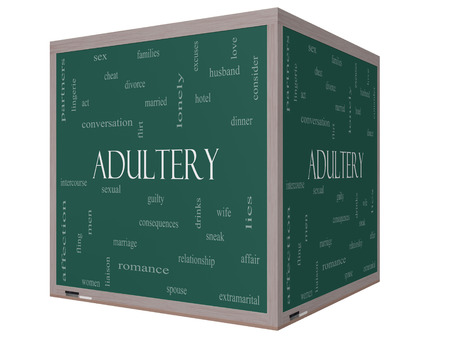 Adultery Word Cloud Concept on a 3D cube Blackboard with great terms such as sexual, affair, lies and more. photo