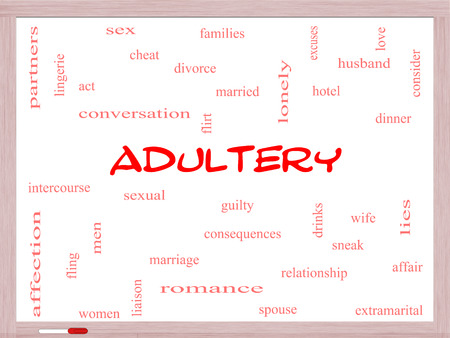 Adultery Word Cloud Concept on a Whiteboard with great terms such as sexual, affair, lies and more. photo