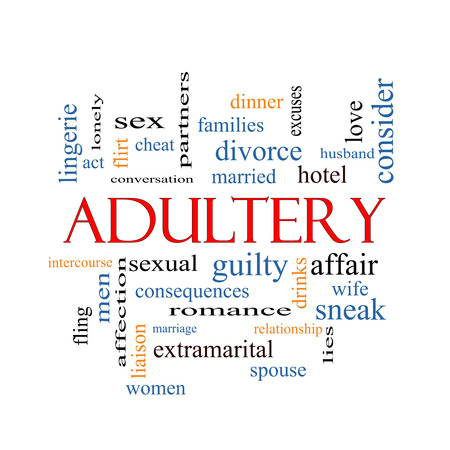 Adultery Word Cloud Concept with great terms such as sexual, affair, lies and more. photo