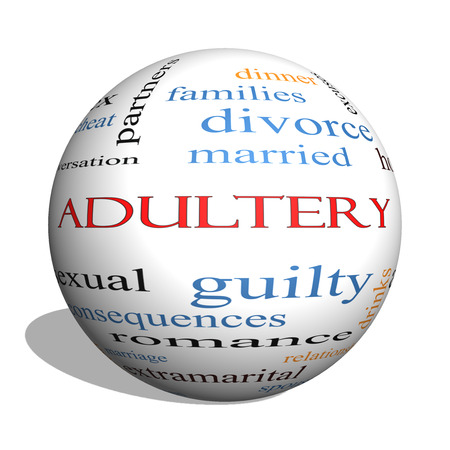 Adultery 3D sphere Word Cloud Concept with great terms such as sexual, affair, lies and more. photo