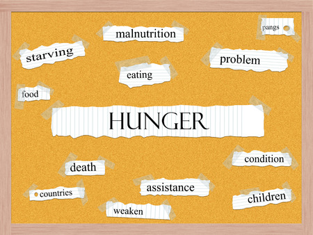 weaken: Hunger Corkboard Word Concept with great terms such as pangs, food, weaken and more. Stock Photo