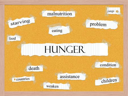 pangs: Hunger Corkboard Word concetto con termini quali grandi morsi, cibo, indebolire e altro.