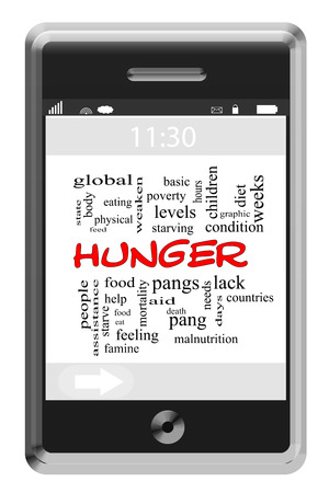 Hunger Word Cloud Concept of Touchscreen Phone with great terms such as food, pangs, eat and more.