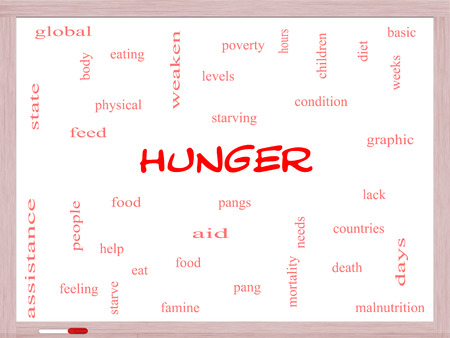 pangs: Hunger Word Cloud Concept on a Whiteboard with great terms such as food, pangs, starving and more.
