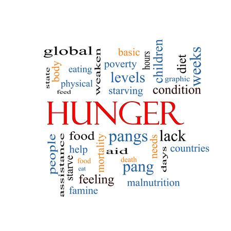 pangs: Hunger Nube Concetto Word con i termini grandi come il cibo, morsi, morendo di fame e di pi�. Archivio Fotografico
