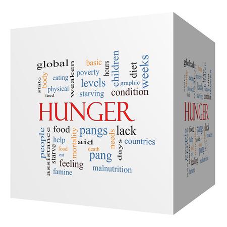 pangs: Hunger 3D cubo Nube Concetto Word con i termini grandi come il cibo, morsi, morendo di fame e di pi�. Archivio Fotografico