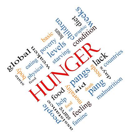 pangs: Hunger Nube Concetto Word inclinata con termini grandi come il cibo, morsi, morendo di fame e di pi�.
