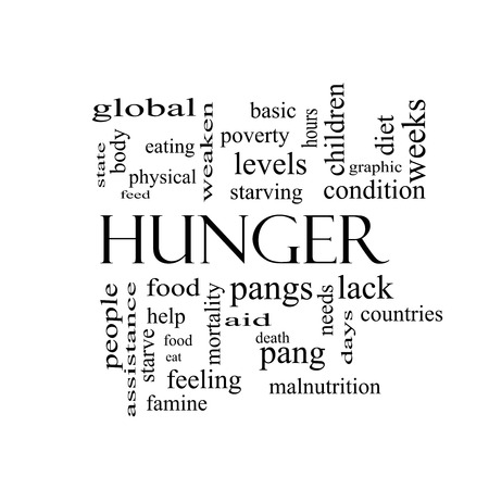 pangs: Hunger Nube Concetto Word in bianco e nero con i termini grandi come il cibo, morsi, morendo di fame e di pi�. Archivio Fotografico