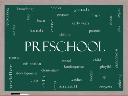 Preschool Word Cloud Concept on a Blackboard with great terms such as youth, education, learn and more. photo