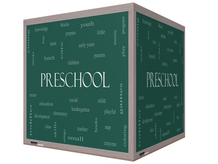 Preschool Word Cloud Concept on a 3D cube Blackboard with great terms such as youth, education, learn and more. photo