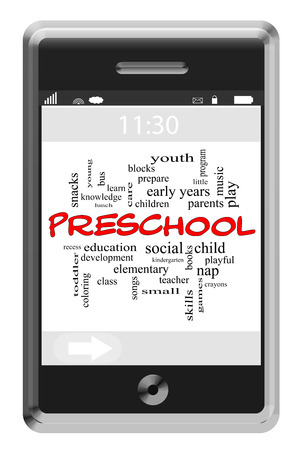 Preschool Word Cloud Concept of Touchscreen Phone with great terms such as recess, games, children and more. photo