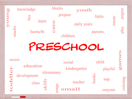 Preschool Word Cloud Concept on a Whiteboard with great terms such as youth, education, learn and more. photo