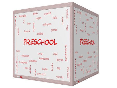 Preschool Word Cloud Concept on a 3D cube Whiteboard with great terms such as youth, education, learn and more. photo