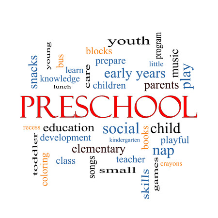 Preschool Word Cloud Concept with great terms such as youth, education, learn and more. photo