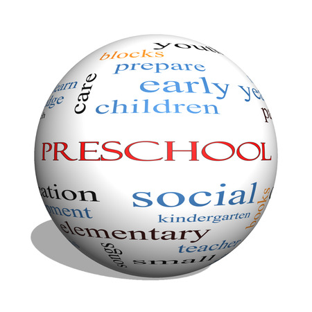Preschool 3D sphere Word Cloud Concept with great terms such as youth, education, learn and more. photo