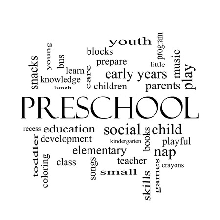 Preschool Word Cloud Concept in black and white with great terms such as youth, education, learn and more. photo