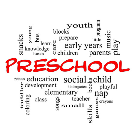 Preschool Word Cloud Concept in red caps with great terms such as youth, education, learn and more. photo