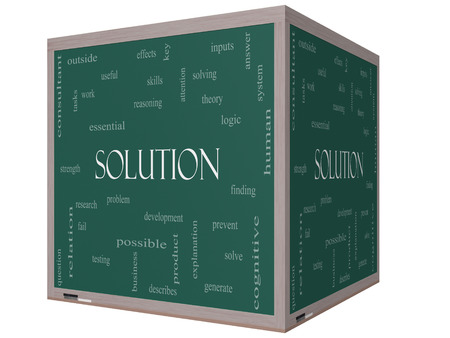 describes: Solution Word Cloud Concept on a 3D cube Blackboard with great terms such as theory, problem, solve and more. Stock Photo