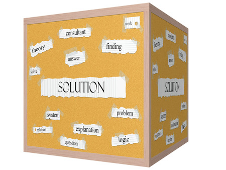 Solution 3D cube Corkboard Word Concept with great terms such as solve, answer, finding and more.