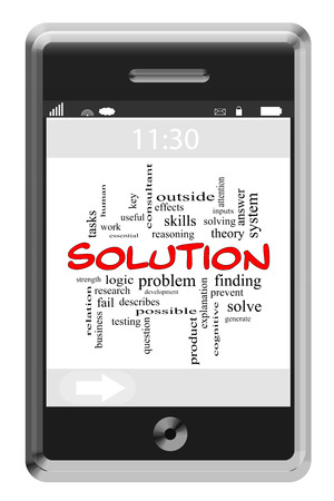answer phone: Solution Word Cloud Concept of Touchscreen Phone with great terms such as solve, finding, answer and more.
