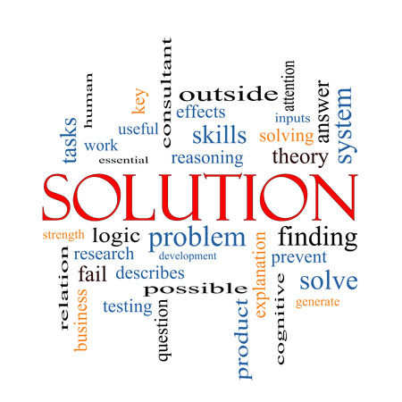 Solution Word Cloud Concept with great terms such as theory, problem, solve and more. photo