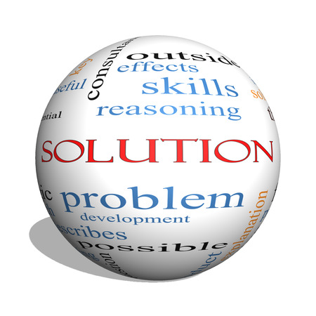 reasoning: Solution 3D sphere Word Cloud Concept with great terms such as theory, problem, solve and more. Stock Photo