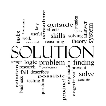 describes: Solution Word Cloud Concept in black and white with great terms such as theory, problem, solve and more.