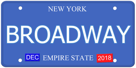 An imitation New York License Plate with the word BROADWAY and Empire State making a great concept. photo