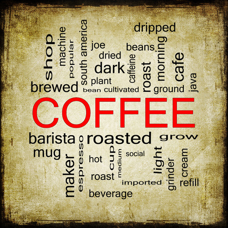 dripped: A Grunge Coffee Word Cloud Concept with great terms such as roast, bean, cafe, hot, cup, java and more. Stock Photo