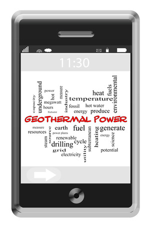 Geothermal Power Word Cloud Concept of Touchscreen Phone with great terms such as fuel, energy, power and more. Stock Photo - 26810531