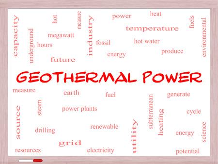 偉大な条件を地球、燃料、エネルギーなどをホワイト ボードに地熱発電単語雲概念