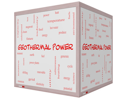 megawatt: Geothermal Power Word Cloud Concept on a 3D cube Whiteboard with great terms such as Earth, fuel, energy and more.