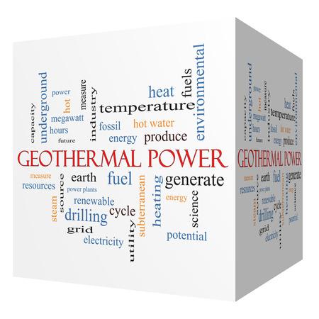 地熱発電 3D 立方体単語雲の概念を地球、燃料、エネルギーなどの偉大な用語。 写真素材