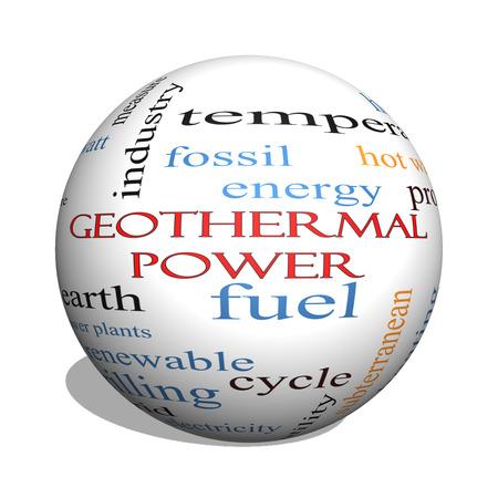 地熱パワー 3 D 球単語雲概念地球、燃料、エネルギーなど偉大な条件で。
