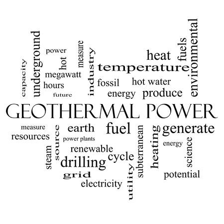 地熱単語クラウドにおける権力概念地球、燃料、エネルギーなどの偉大な条件で黒と白。