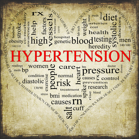 A Grunge textured black and red heart shaped word cloud concept around the word Hypertension including words such as reading, control, doctor, rx and more. photo