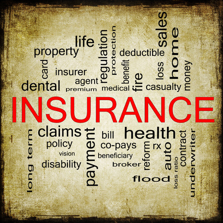 underwriter: Grunge textured Insurance Word Cloud Concept with great terms such as and more. Stock Photo