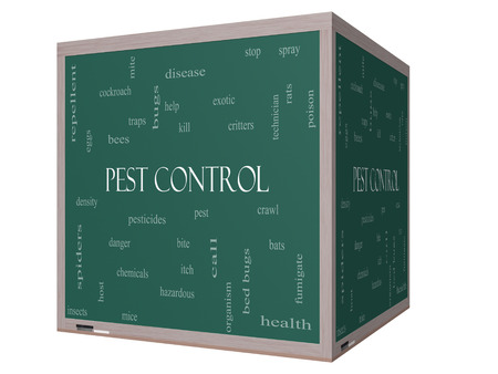 Pest Control Word Cloud Concept on a 3D cube Blackboard with great terms such as bugs, poison, rates and more. photo
