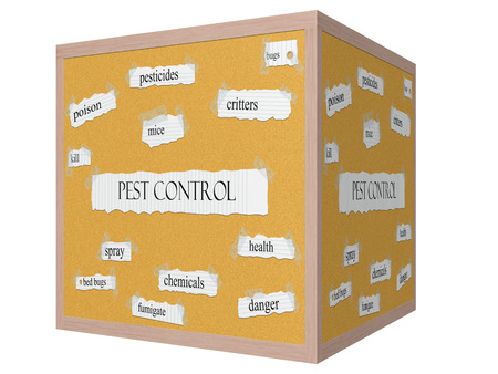 pesticides: Pest Control 3D cube Corkboard Word Concept with great terms such as pesticides, critters, bugs and more.