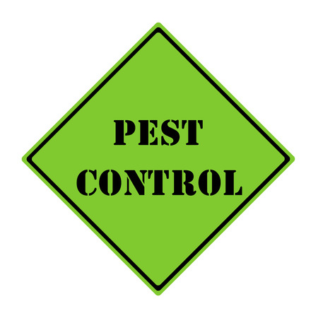 A green and black diamond shaped road sign with the words PEST CONTROL making a great concept. Reklamní fotografie - 26810604