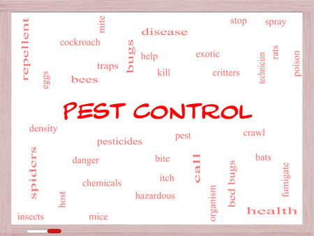 Pest Control Word Cloud Concept on a Whiteboard with great terms such as bugs, poison, rates and more. photo
